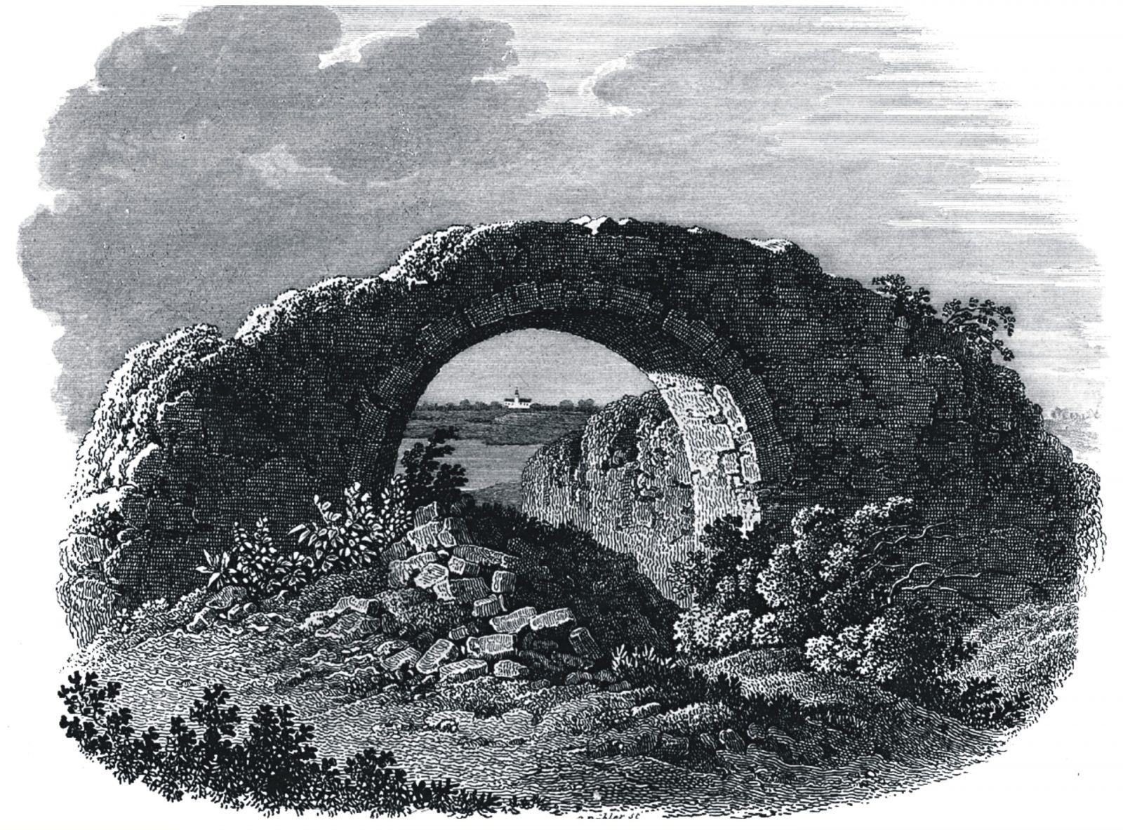 Rycina, ruiny palatium na Ostrowie Lednickim